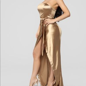 aaliyah satin dress- gold